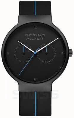 Bering Max rene pour hommes | bracelet en silicone noir | cadran noir / bleu 15542-428