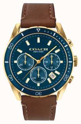 Coach Preston pour hommes | bracelet en cuir marron | cadran bleu 14602513