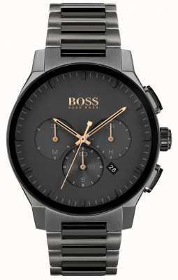 BOSS Visière pour hommes   bracelet ip en acier inoxydable gris   cadran gris 1513814