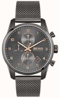 BOSS Skymaster sport lux   bracelet en maille ip noir   cadran noir 1513837