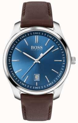 BOSS Circuit sport lux   bracelet en cuir marron   cadran bleu 1513728