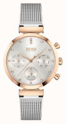 BOSS Femmes impeccables | bracelet en maille d'acier | cadran argenté 1502551