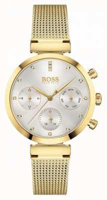 BOSS Femmes impeccables | bracelet en maille plaquée or | cadran argenté 1502552