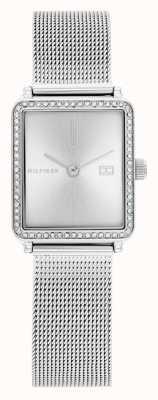 Tommy Hilfiger Thé des femmes | bracelet en maille d'acier | cadran carré argenté | 1782294