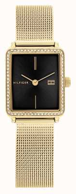 Tommy Hilfiger Thé des femmes | bracelet en maille plaquée or | cadran carré noir 1782295