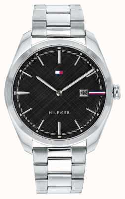 Tommy Hilfiger Théo pour hommes | bracelet en acier inoxydable argenté | cadran noir 1710440