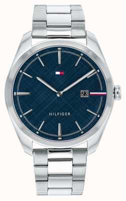 Tommy Hilfiger Théo pour hommes | bracelet en argent en acier inoxydable | cadran bleu 1710426