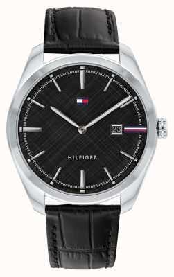 Tommy Hilfiger Théo pour hommes | bracelet en cuir noir | cadran noir 1710439