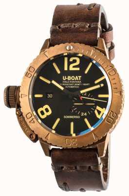 U-Boat Bracelet en cuir marron automatique Sommerso 46 bronze 8486