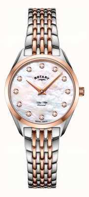 Rotary Montre-bracelet en nacre bicolore ultra mince pour femme LB08012/41/D