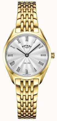 Rotary Femme ultra mince | montre en acier plaqué or | cadran argenté LB08013/01