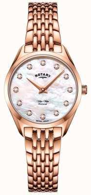 Rotary Montre-bracelet ultra mince en or rose pour femme LB08014/41/D