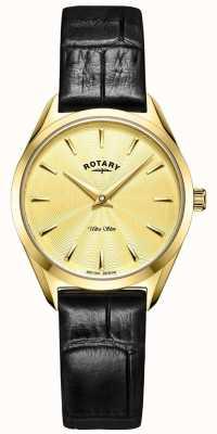 Rotary Montre ultra fine en cuir doré pour femme LS08013/03