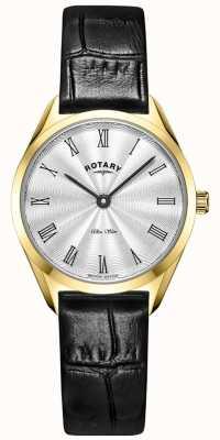 Rotary Montre ultra fine en cuir doré pour femme LS08013/01
