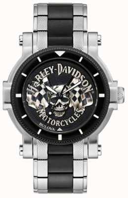 Harley Davidson Crâne et drapeaux pour hommes | bracelet en acier bicolore | cadran noir 78A124