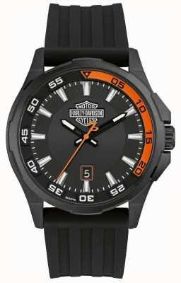 Harley Davidson Tableau de bord homme | bracelet en silicone noir | cadran noir 78B140