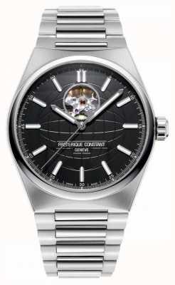 Frederique Constant Auto de battement de coeur Highlife | bracelet en acier | cadran noir FC-310B4NH6B