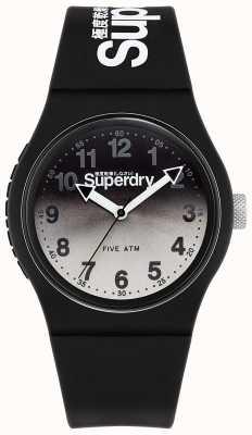 Superdry Urban lazer | bracelet en silicone noir | cadran noir et gris SYG198EB