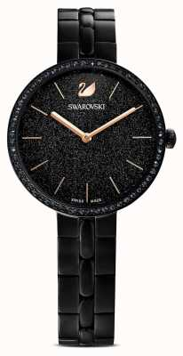 Swarovski Cosmopolitan | bracelet plaqué pvd noir | cadran noir à paillettes 5547646