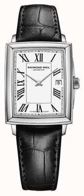 Raymond Weil Toccata pour femmes | bracelet en cuir noir | cadran blanc 5925-STC-00300