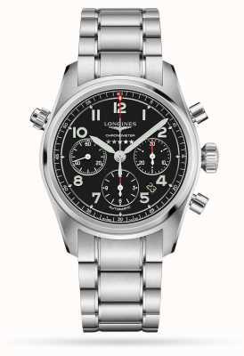Longines Spirit chronographe automatique cadran noir en acier inoxydable L38204536