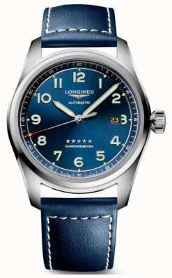 Longines Cadran bleu esprit 42 mm automatique cuir bleu L38114930