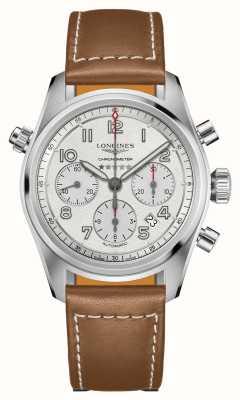 Longines Spirit chronographe automatique cadran argenté bracelet marron L38204732
