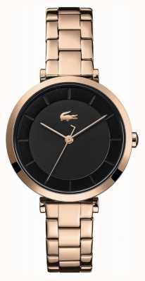 Lacoste | femmes | genève | bracelet en acier or rose | cadran noir | 2001142