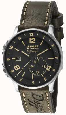 U-Boat 1938 Doppiotempo cadran noir double heure 8400/A