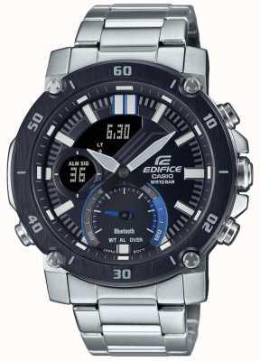 Casio Edifice | bracelet en acier inoxydable | cadran noir / bleu | ECB-20DB-1AEF