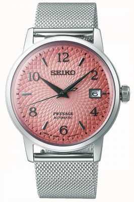 Seiko Presage édition limitée   bracelet en maille d'acier   cadran rose SRPE47J1