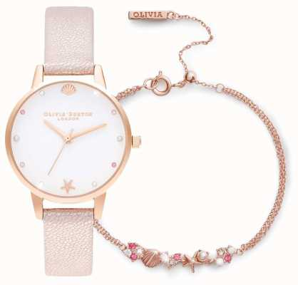 Olivia Burton Sous la mer | coffret cadeau montre et bracelet | rose OBGSET141