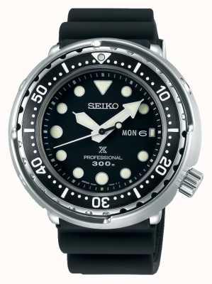 Seiko Prospex pour hommes | bracelet en silicone noir | cadran noir S23629J1