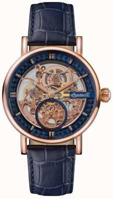 Ingersoll Le héraut cadran squelette bracelet en cuir bleu I00407