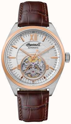 Ingersoll Le bracelet en cuir marron automatique Shelby cadran argenté I10901