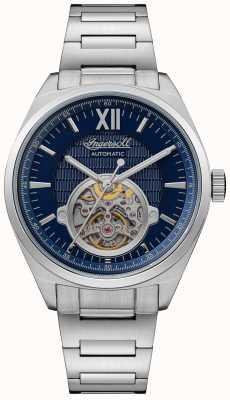 Ingersoll Le bracelet automatique en acier inoxydable à cadran bleu Shelby I10902
