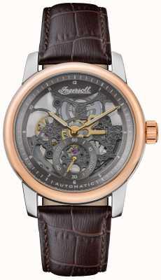 Ingersoll Le Baldwin automatique cadran squelette gris bracelet en cuir marron I11001