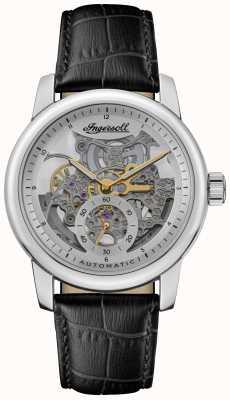 Ingersoll Le Baldwin automatique cadran squelette argenté bracelet en cuir noir I11002