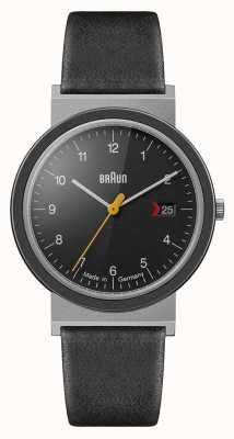 Braun Bracelet en cuir noir avec cadran noir classique pour homme AW10EVO