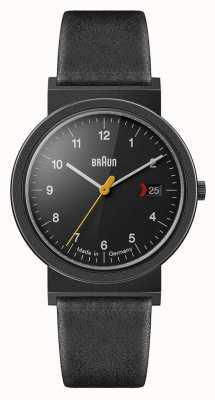 Braun Bracelet en cuir noir classique pour homme cadran noir détail noir AW10EVOB