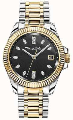 Thomas Sabo | femmes | divine | bracelet en acier bicolore | cadran noir | WA0370-291-203-33