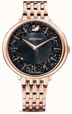 Swarovski | chic cristallin | bracelet pvd or rose | cadran noir à paillettes | 5544587