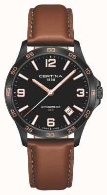 Certina   ds-8   bracelet en cuir marron   cadran noir   quartz   C0338513605700