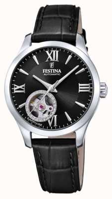 Festina Automatique pour femmes | bracelet en cuir noir | cadran noir F20490/3