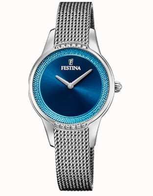 Festina Céramique pour femmes | bracelet bicolore acier / céramique | cadran bleu F20494/2