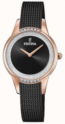 Festina Bracelet femme en maille d'acier noir | cadran serti de cristal noir F20496/2