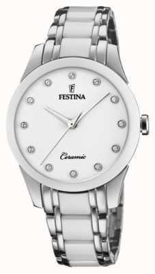 Festina Céramique pour femmes | bracelet bicolore acier / céramique | cadran blanc F20499/1