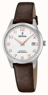 Festina Bracelet en cuir marron pour femme | cadran blanc F20510/1