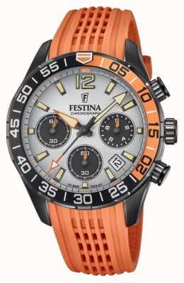Festina Chronographe homme | bracelet en silicone orange | cadran gris F20518/1