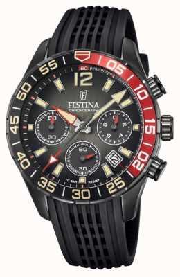 Festina Chronographe homme   bracelet en silicone noir   cadran noir F20518/3